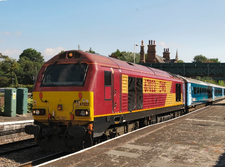 67022 in EWS livery awaits departure from Frodsham