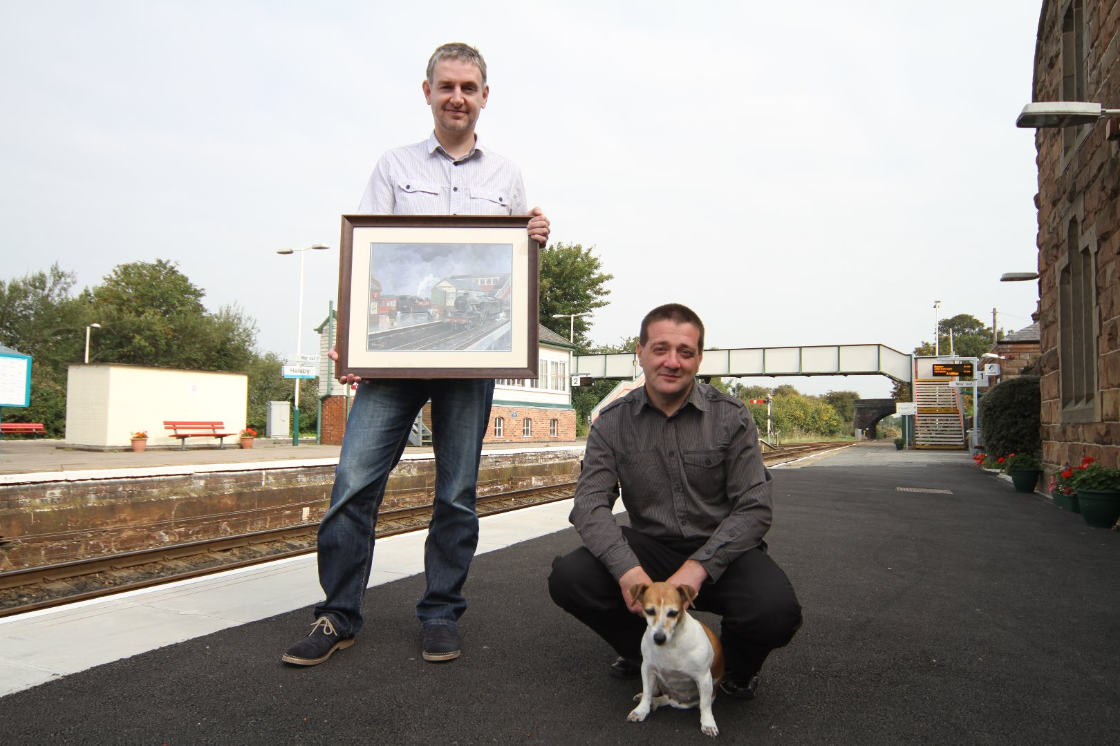 Nick Harling, Ian Whitley  and Pip at Helsby Station