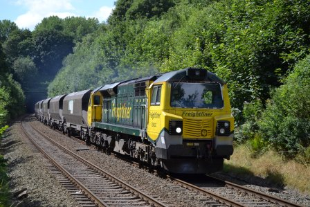 Freight train 70002 approaches Runcorn East on 18th July 2014